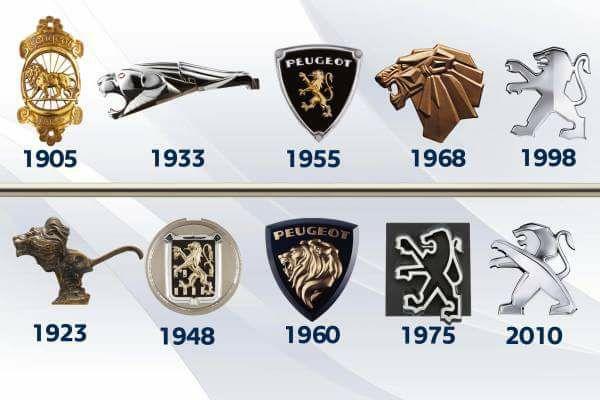 Peugeot Embleme im Lauf der Zeit