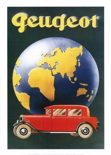 Werbeplakat Peugeot Baureihen 01 - 1929-1938