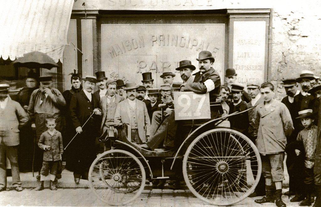 """Peugeot Typ 5 """"Quadricycle à gazoline′′ war speziell für das Rennen Paris – Rouen"""