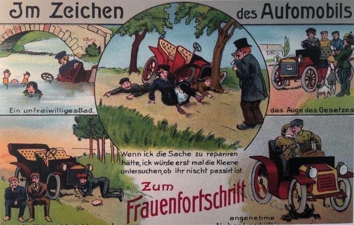 """Zeitgenössische Postkarte """"Frauen und Automobile"""""""