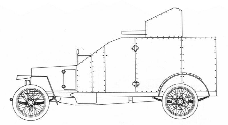 Schemazeichnung Peugeot 1914 AC - gepanzerte Version