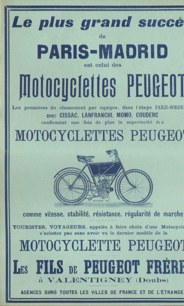 Werbung für Peugeot.Motos aus dem Jahr 1903