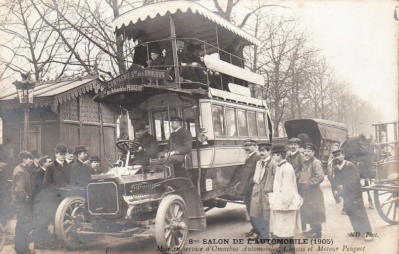 """Der """"Messe-Shuttle"""" im Jahr 1905 - ein Peugeot-Bus"""