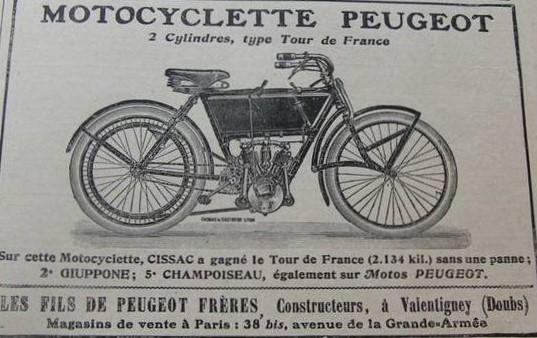 Peugeot Motorrad Zeitschriftenwerbung 1906