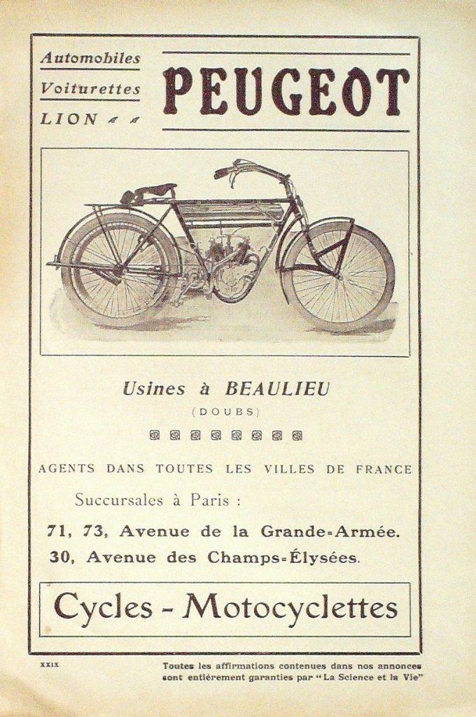 Peugeot Motorrad Zeitschriftenwerbung vor 1916