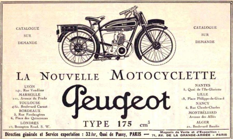Peugeot Motorrad Zeitschriftenwerbung 1926