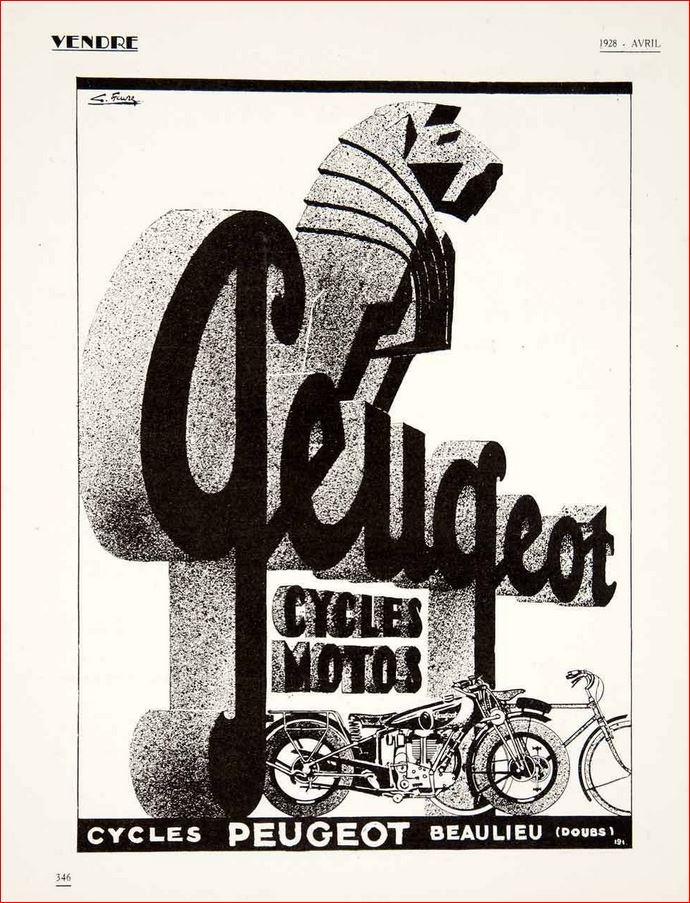 Werbung ca. 1928 für Peugeot Motorräder