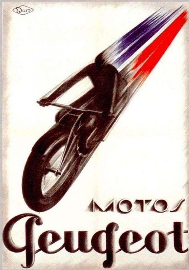 Plakatwerbung ca. 1925 für Peugeot Motorräder