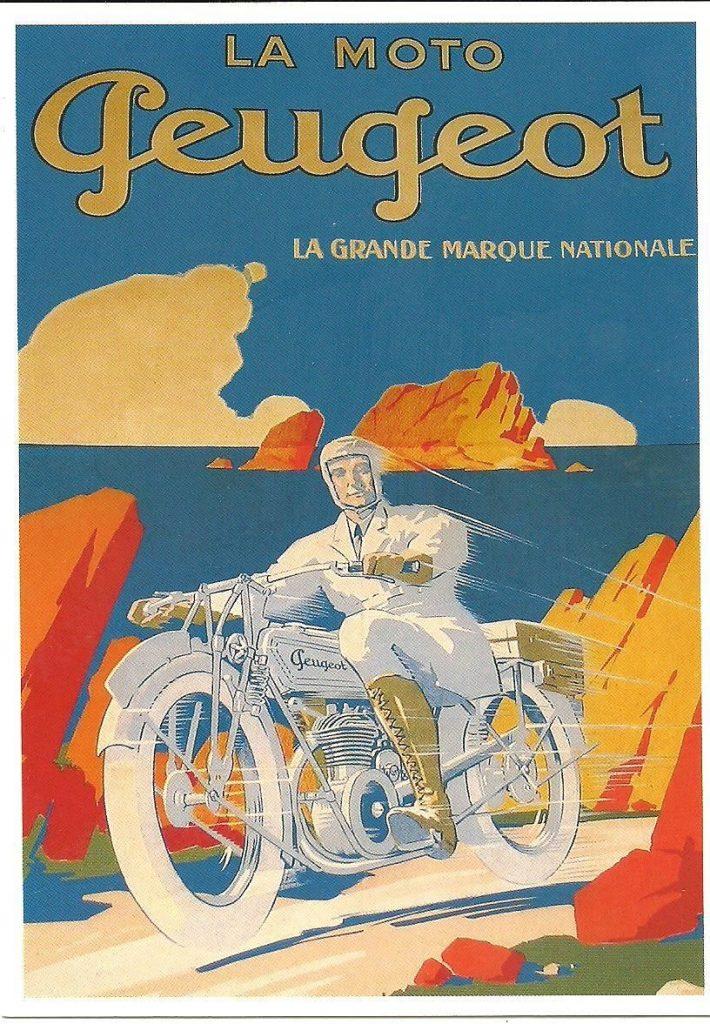 Plakatwerbung ca. 1930 für Peugeot Motorräder