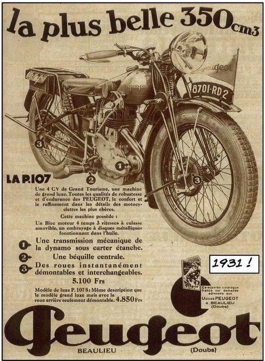 Werbung ca. 1931 für Peugeot Motorräder