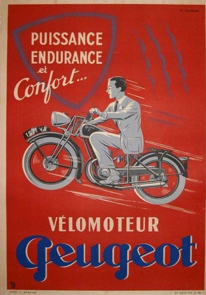 Plakatwerbung ca. 1946 für Peugeot Motorräder