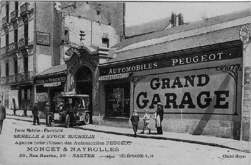 Nantes - Grand Garage Peeugeot Moncet & Nayrolles - ca. 1910