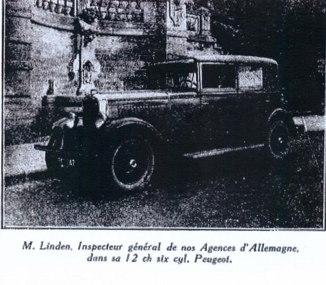 1927/28 wird als Generalvertreter der Fa. Peugeot in Deutschland Herr M. Linden, Berlin, Nymphenburgerstrasse 9 genannt.