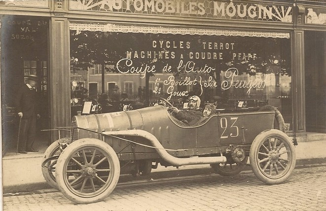 Dijon - Automobiles Mougin du Val Suzon, 1912 Beachten Sie die Werbung mit dem Rennsport auf der Scheibe