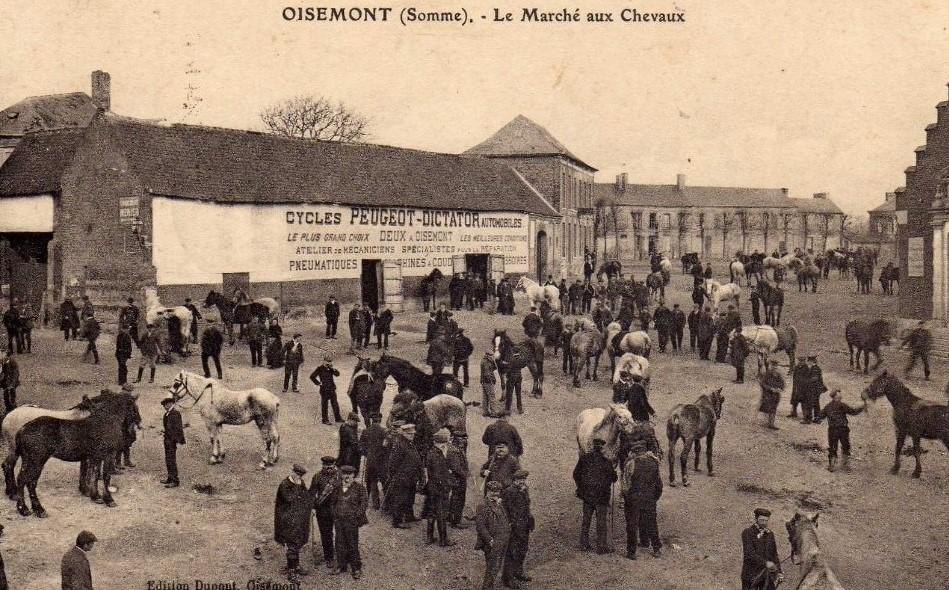 Überall ist Peugeot-Werbung zu finden: Auf dem Land - hier Pferdemarkt in Oisemont