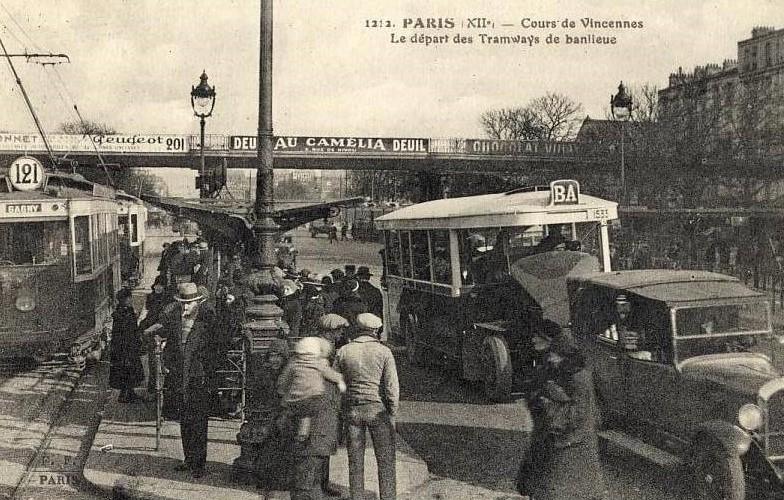 Peugeot Werbung im Jahr 1929 - an der Brücke über der Buslinie BA nach Gagny.