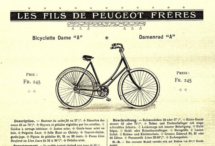 Peugeot Damenrad 1906 - interessant, dass die Werbung in Französisch und Deutsch erfolgte
