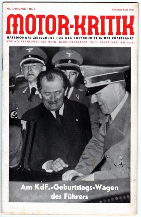 Titelblatt Motor-Kritik Anfang Mai 1939: Prof. Porsche mit Hitler
