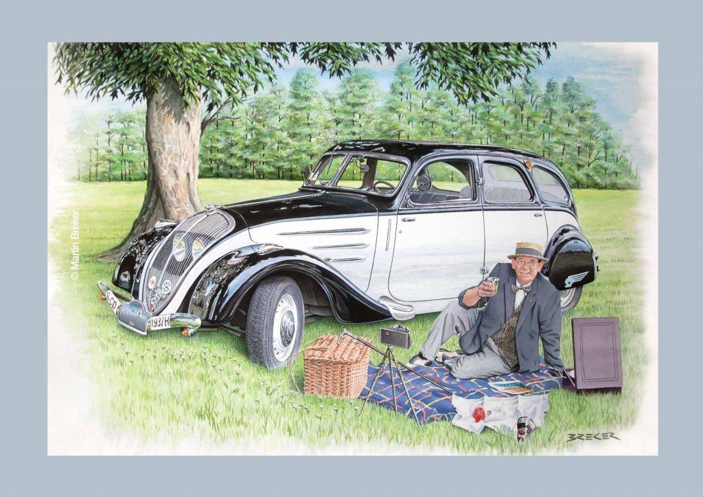 """Grafik von Martin Breker """"Peugeot 402"""""""
