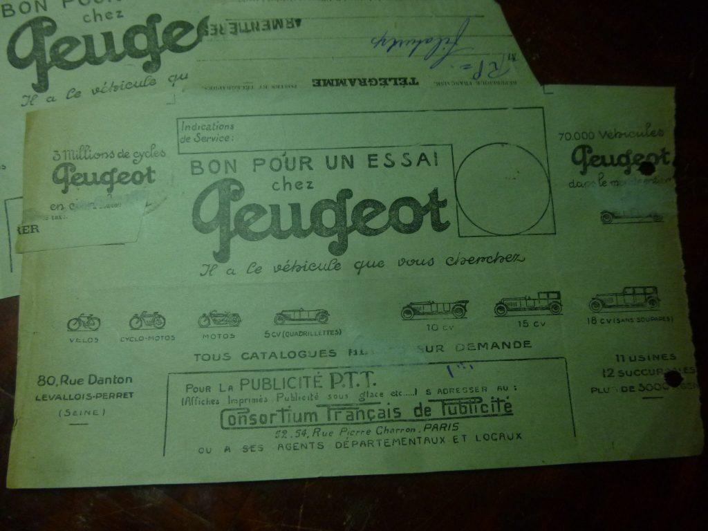 Peugeot-Modelle auf Telegrammen_3