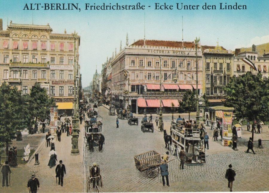 Ansicht Berlin mit Pferdefuhrwerken