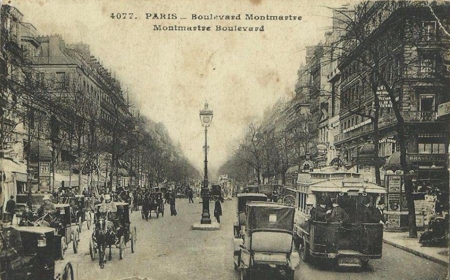 Ansicht Paris mit Pferdefuhrwerken