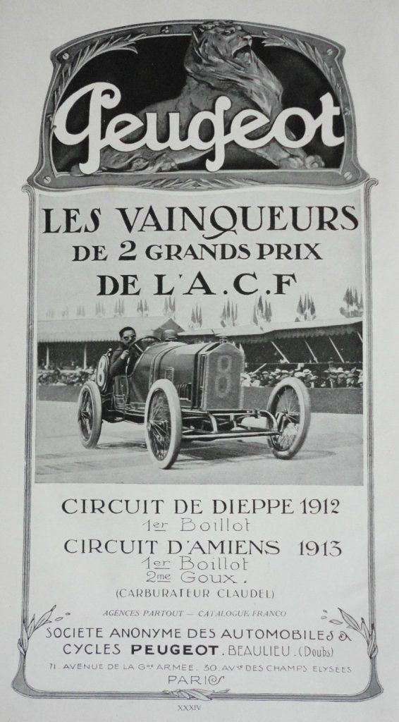 """Peugeot Werbeplakat """"Grand Prix Gewinner 1912/13"""""""