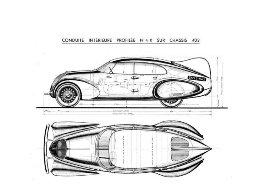 """Schnittzeichnung Peugeot 402 """"Andreau"""""""