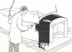 """Abbildung: Floco steht für  """"Gießen"""" und """"Fließbeschichtung"""" - der Lack floss durch die Schwerkraft auf ein Gerät, von dem er zwischen zwei Lippen floss, mit denen lackiert wurde."""