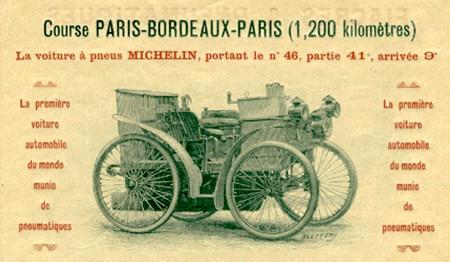 Bereits 1895 beim ersten Autorennen der Welt -  der Fernfahrt Paris/Bordeaux/Paris - wurden Luftreifen auf einem Automobil eingesetz