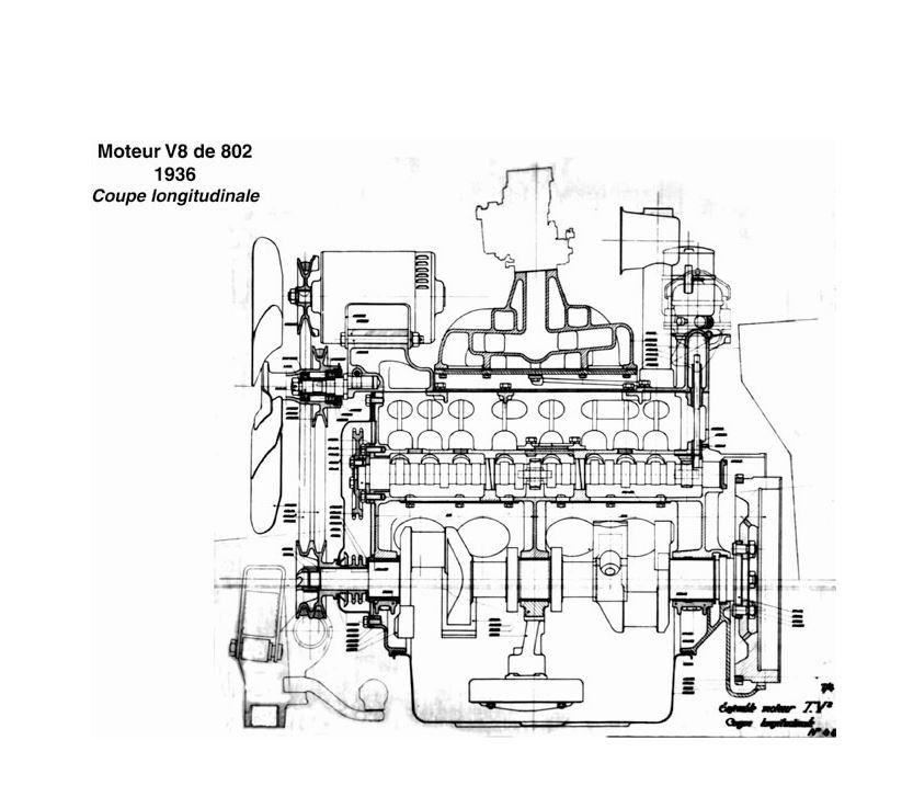 Peugeot 402 Andreau - Motorzeichnung Querschnitt