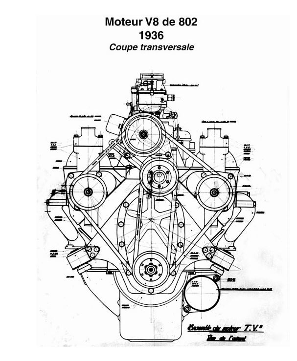 Peugeot 402 Andreau - Motorzeichnung