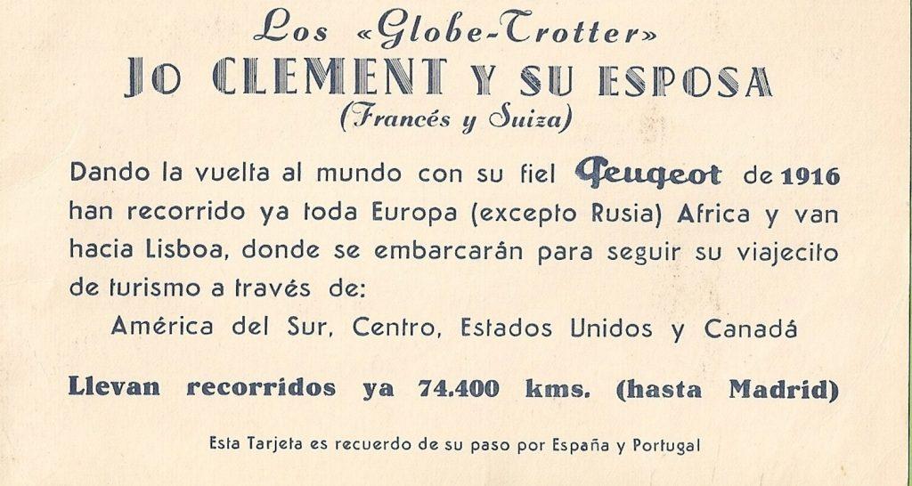 Ankündigung Weltreise im Peugeot von 1916