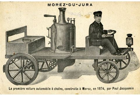 """Paul Jacquemin, im Jahr 1874 Konstrukteur des ersten dampfbetriebenen """"Automobils"""" mit Kettenantrieb"""