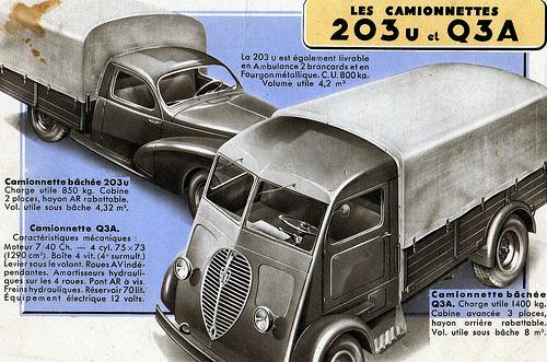 Prospektausschnitt: Les Camionnettes 203U et Q3A