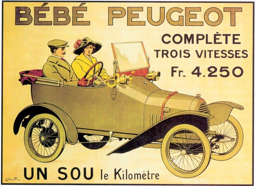 "Nur ""einen Sous pro Kilometer"" – diese wegweisende Werbung kündigte 1913 den Bébé Lion Peugeot BP1 an."