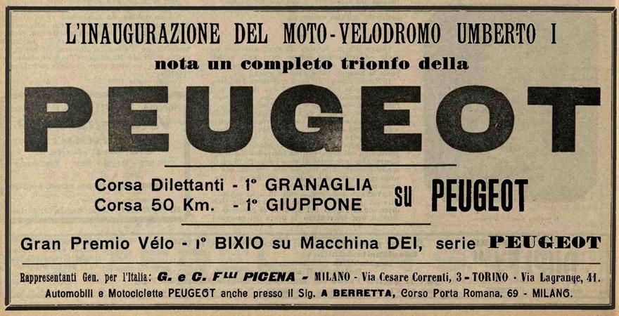 Peugeot Anzeige mit Rennerfolg  Giosuè Giuppone