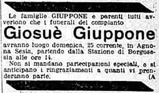 Ankündigung Beerdigung Giosuè Giuppone