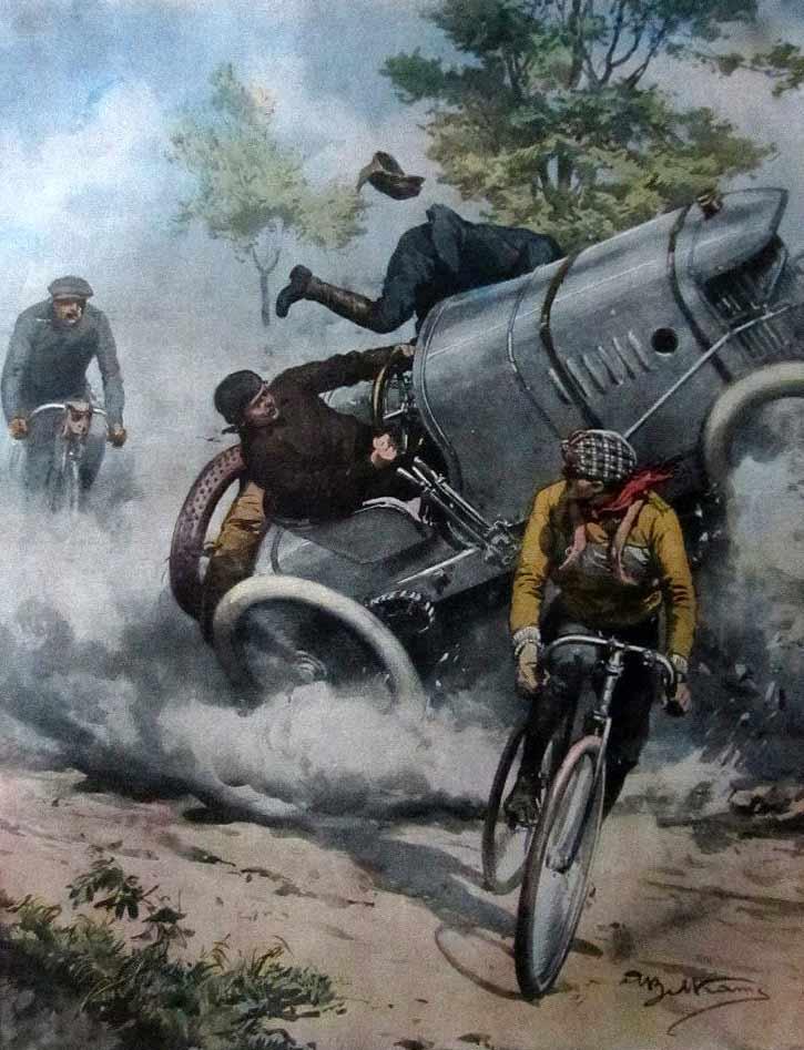 Giosuè Giuppone auf Lion Peugeot - Zeichnung vom Unfall