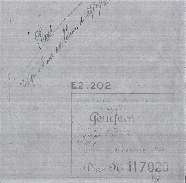 Peugeot Projektblatt mit der Bezeichnung E2.202