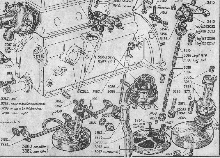Explosionszeichnung Ölpumpe Peugeot 402