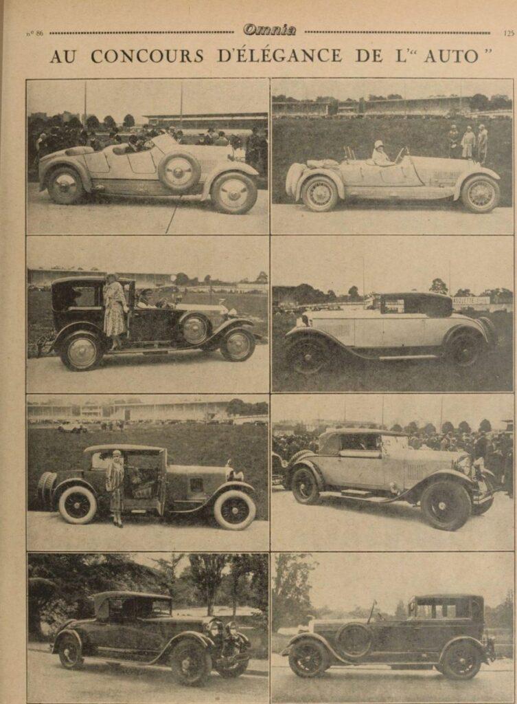 """Typ 174 mit der - seinerzeit noch hell lackierten - Karosserie von Lavocat & Marsaud. Bericht über einem Concours d'Elegance im Jahr 1927 aus der Zeitschrift """"Omnia"""""""
