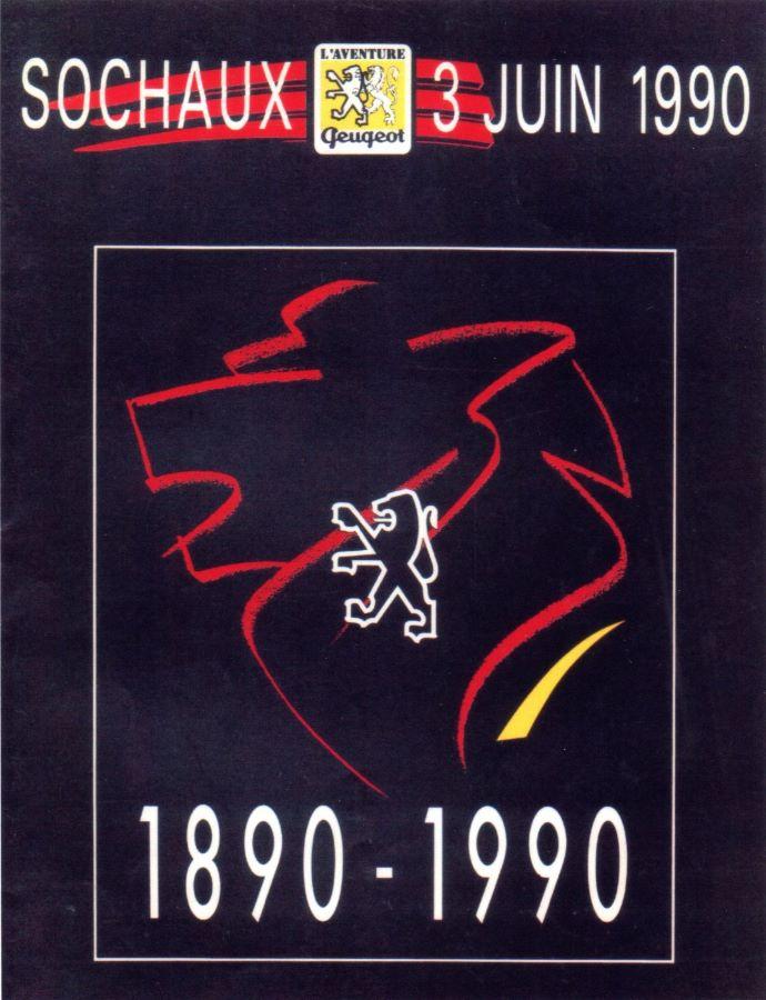 Plakat 100 Jahre Peugeot Motorfahrzeuge – Treffen in Sochaux im Jahr 1990