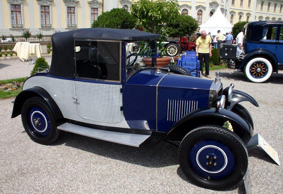 """Peugeot Typ 172 R Coupe, Baujahr 1927, mit originaler Lackierung im """"Korbgeflecht-Design"""""""