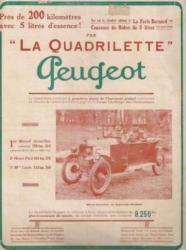 Werbeanzeige Peugeot Quadrilette