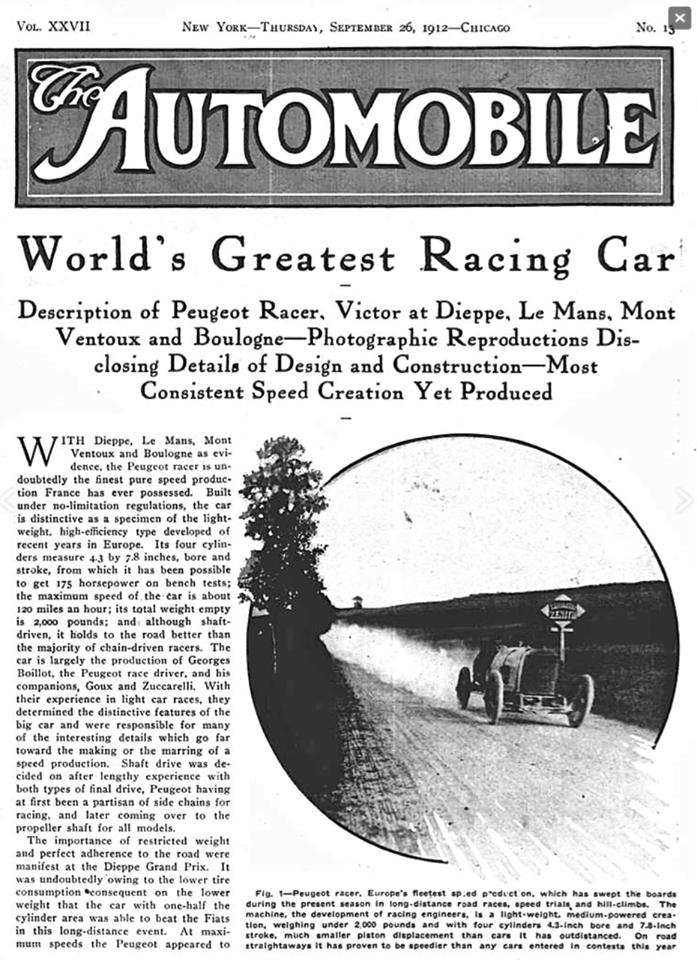 "Ausschnitt ""The Automobile"" vom 26. September 1912"