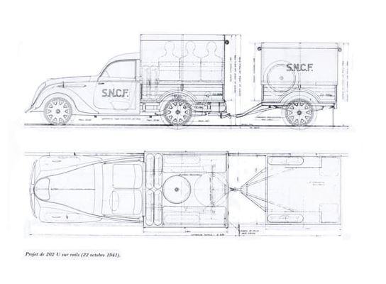 Plan des Schienenwagens auf 202 U-Basis aus dem Herbst 1941