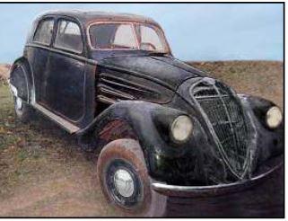 Peugeot 302 mit modifizierten Scheinwerfern