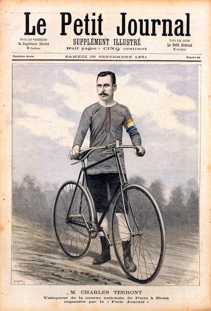 "Sieger des Radrennens, Charles TERRONT im ""Le Petit Journal"""